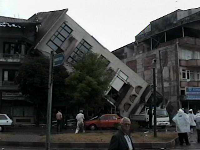Toppled building